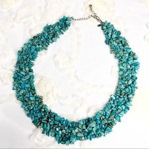 "Premier Designs Chip Bead Turquoise Necklace 20"""